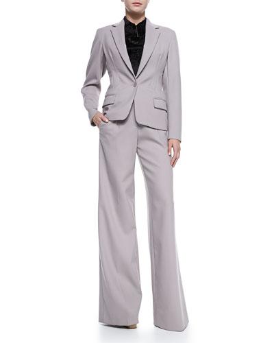 Jason Wu Cinched-Waist Jacket & Wool Crepe Wide-Leg Trousers