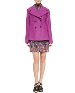 Nanette Lepore Boucle Pea Coat & Handloom Print Short Dress