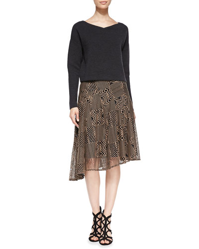 Nanette Lepore Ribbed Knit Boxy Pullover & Geometric-Lace A-Line Skirt