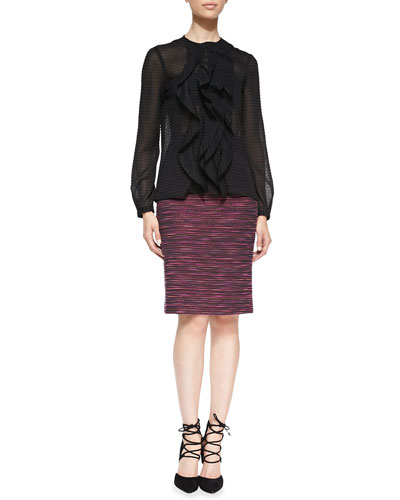 Nanette Lepore Ruffle-Front Sheer Patterned Blouse & Striped Tweed Long Pencil Skirt