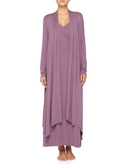 Donna Karan Crossover Gathered Liquid Jersey Long Gown & Wrap Robe, Purple Twilight