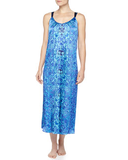 Oscar de la Renta Scroll-Print Charmeuse Long Gown & Robe, Blue