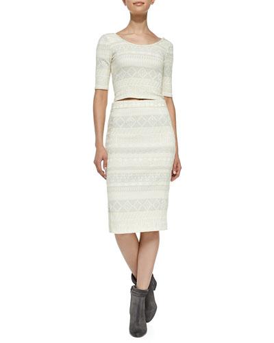 Rebecca Minkoff James Pattern-Stripe Tweed Crop Top & Skirt