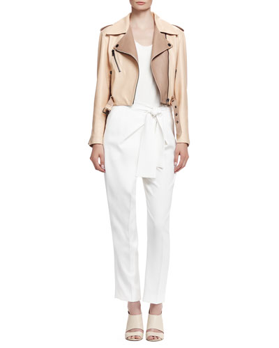 Laced-Back Leather Jacket, Classic Tank Top & Tie-Waist Cady Pants