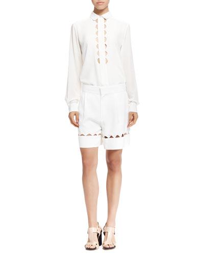 Scalloped-Cutout Button-Up Shirt and Bermuda Shorts