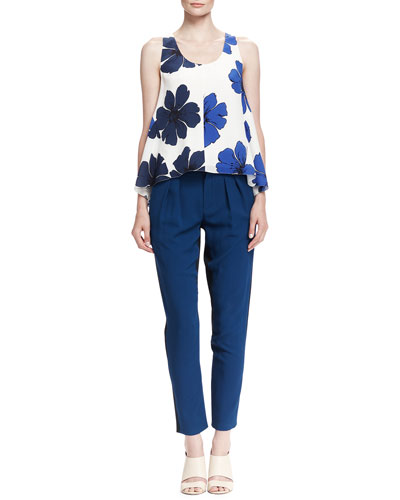 Florals Printed Swing Tank and Pleated Two-Tone Cady Pants