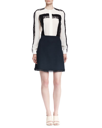 Fringe-Trim Button-Up Blouse and Fringe-Hem Skirt