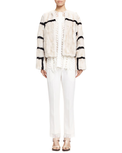 Striped Mink Fur Coat, Fringe-Trim Lace Blouse & Tailored Fringe-Hem Pants