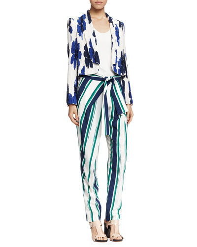 Crinkled Floral-Print Jacket, Classic Tank Top & Striped Tie-Waist Pants