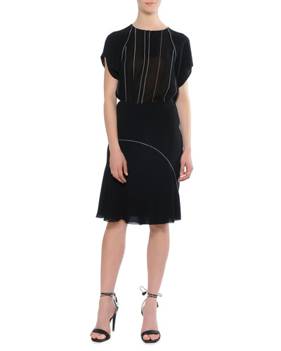 Cap-Sleeve Vertical-Stitch Top & Waist Stitch Bias Skirt