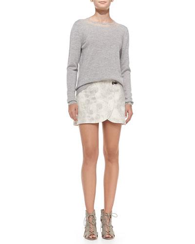 Fine-Gauge Crewneck Pullover Sweater & Double-Clasp Pony Textured Miniskirt