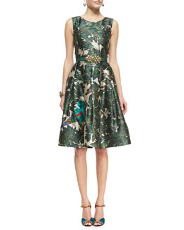 Oscar de la Renta Forest Printed A-Line Dress & Satin Ornament-Buckle Belt