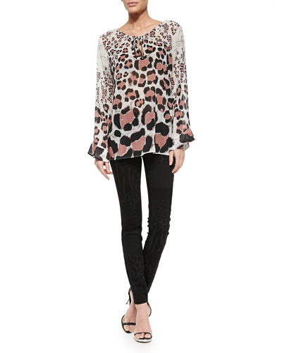 Long-Sleeve Leopard-Print Chiffon Top & Laser Patch Leo-Print Jeans