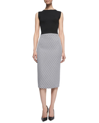 Josie Ponte Bow-Back Top & Lucy Jacquard Knit Pencil Skirt
