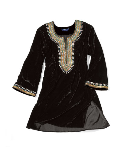 Sulu Collection Embellished Velvet Tunic