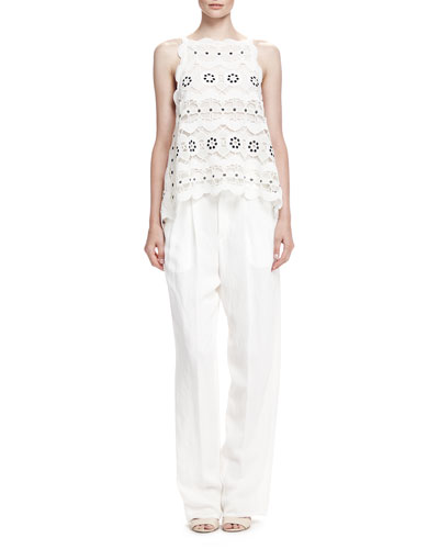 Spring Guipure Lace Top and Rustic Linen Straight-Leg Pants