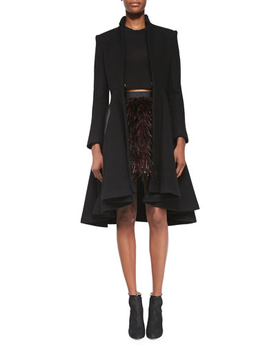 Alice + Olivia Mary Arched-Hem Princess Coat, Short-Sleeve Crewneck Crop Top & Cina Flared Feather Miniskirt