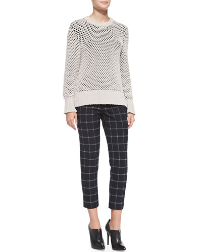 Thakoon Addition Zip-Back Wide-Stitch Sweater & Cropped Plaid Crepe Slim Pants