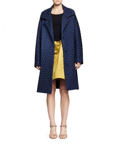 Lanvin Diamond Waffle-Textured Caban Coat & Ballet Dress with Satin Pouf Skirt