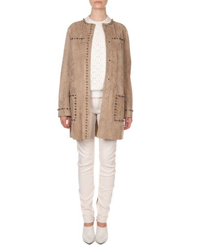 Lanvin Studded Suede Jacket, Lace-Front Sweatshirt & Seamed-Knee Moto Pants