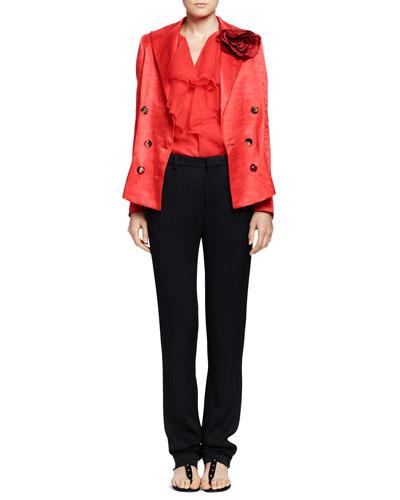 Lanvin Silk Jacket with Rosettes & Cascade-Ruffle Top