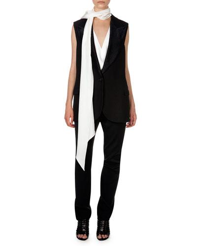 Lanvin Woven Single-Button Vest, V Illusion Insert Blouse, Flat Front Trousers & Long Narrow Scarf