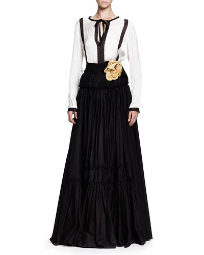 Lanvin Contrast-Embroidered Blouse & Long Tiered A-Line Skirt with Rosettes
