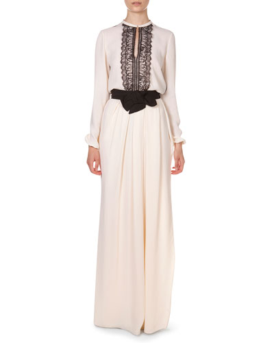 Lanvin Lace-Tuxedo-Inset Blouse and Long Pleated Bow-Waist Skirt
