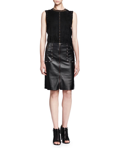 Lanvin Sleeveless Studded Suede Top & Studded Zip-Front Leather Skirt