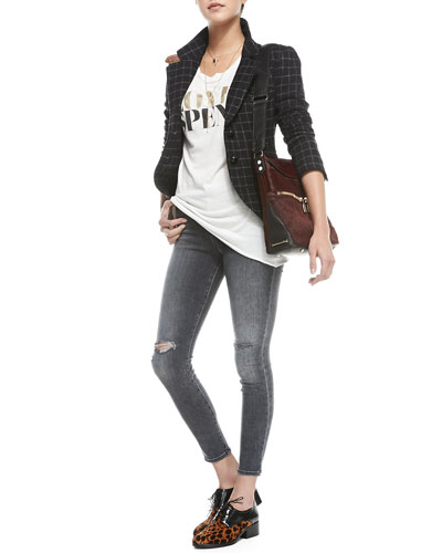 Smythe Plaid Elbow-Patch Hunting Jacket, Frankie Twisted-Seam Muscle Tank & Mid-Rise Distressed Skinny Jeans