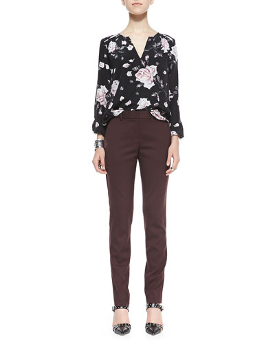 Joie Odelette Floral-Print Silk Blouse & Louise Capture Slim Ankle Pants