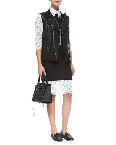 Nha Khanh Madisyn Leather Vest & Halley Lace/Crepe 3/4-Sleeve Shirtdress