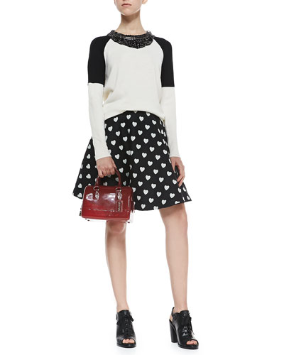 Haute Hippie Colorblock Embellished-Collar Sweater & Heart-Print Short Circle Skirt