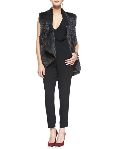 Theory Detachable-Sleeve Rabbit Fur Jacket & Roxie Tie-Back Crepe Jumpsuit