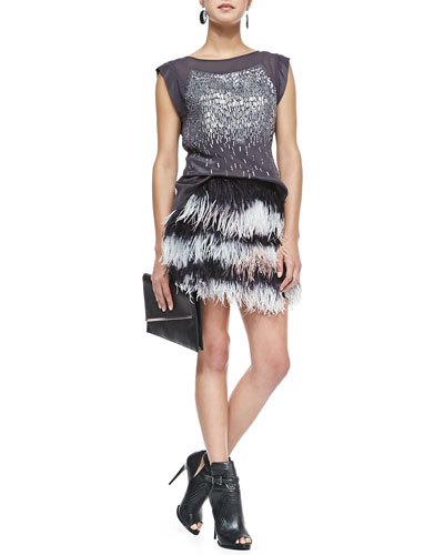 Rebecca Taylor Sheer-Yoke Beaded Silk Top & Feather Miniskirt