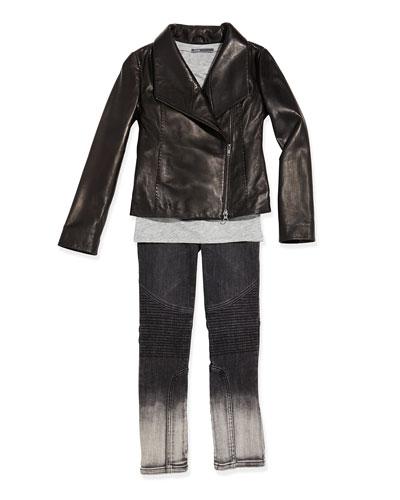 Girls' Scuba Leather Jacket, Favorite Tee & Dylan Moto Seamed Skinny Jeans