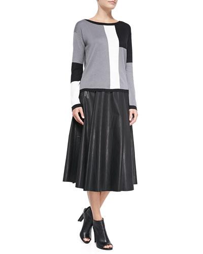Alice + Olivia Colorblock Metallic Knit Sweater & Box-Pleated Leather Skirt