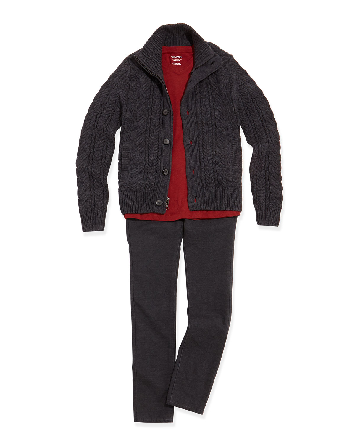 Boys' Mock-Neck Cable-Knit Cardigan, Favorite V-Neck Tee & Brushed Heathered Pants