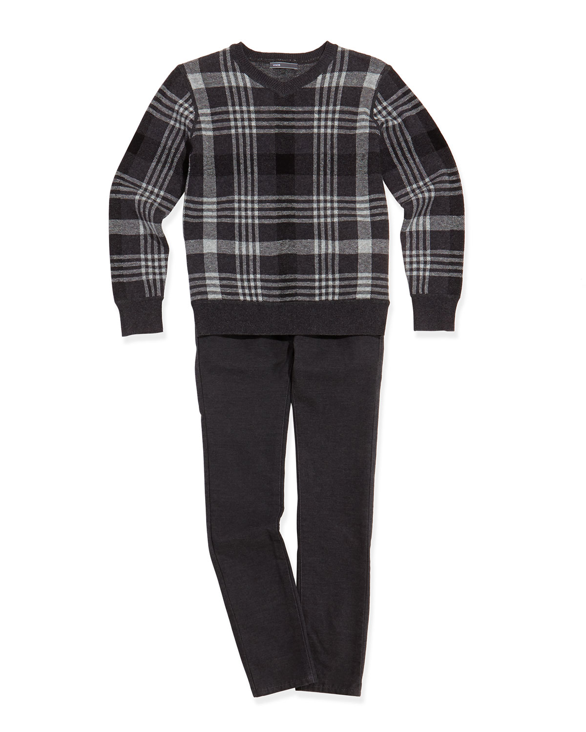 Boys' Plaid Jacquard V-Neck Sweater & Brushed Heathered Pants