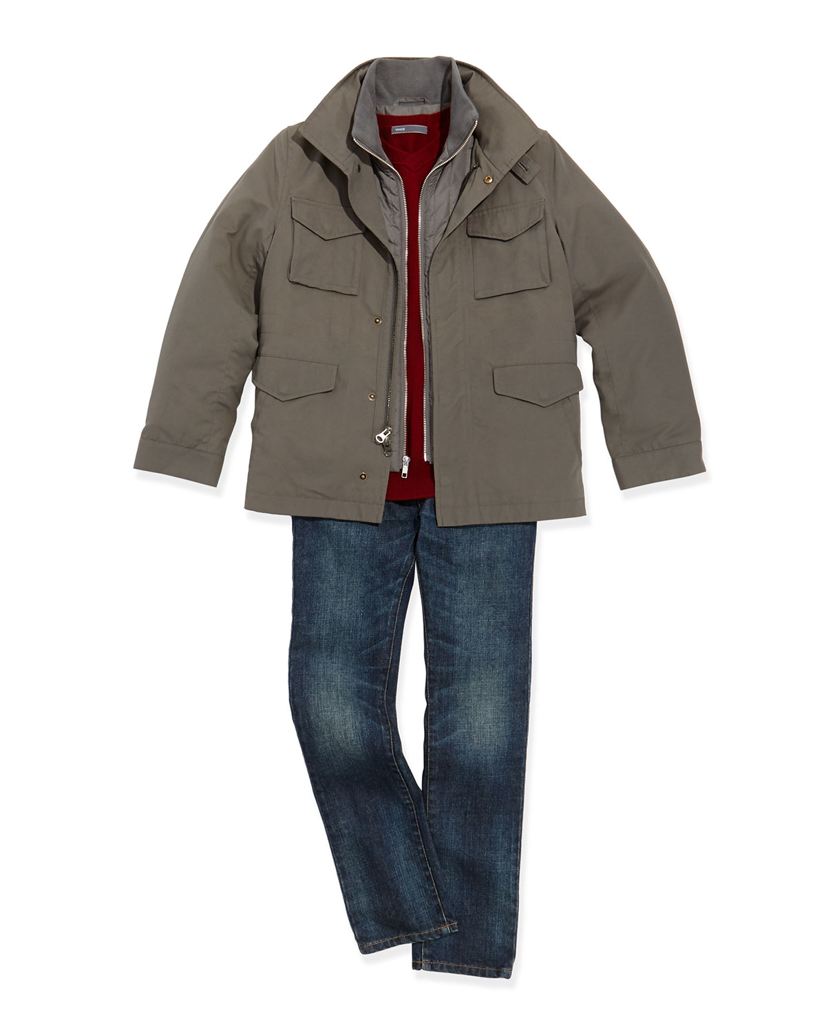 Boys' 3-in-1 Field Jacket, Raw-Edge V-Neck Cashmere Sweater & Boys' Slim-Fit Denim Jeans