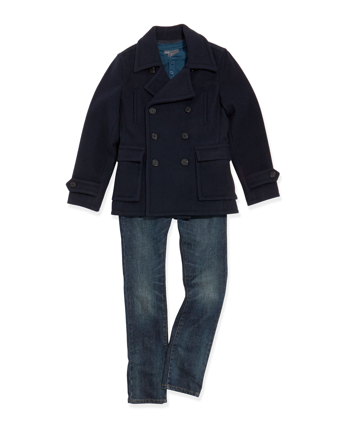 Boys' Double-Breasted Pea Coat, Favorite Ribbed Henley & Slim-Fit Jeans
