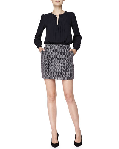 Burberry Brit Pintucked Viscose Blouse & Herringbone Wool Skirt with Leather Waist