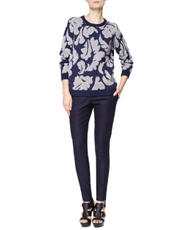 Burberry Brit Leaf Knit Sweater & Modern Tailored Wool Blend Pants