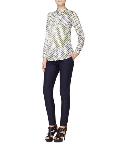 Burberry Brit Punchy Flower-Print Blouse and Tailored Wool-Blend Pants