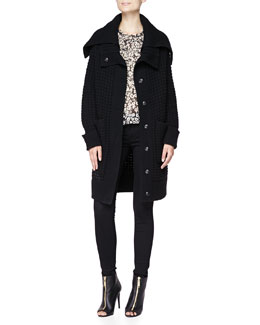 Burberry Brit Waffle Knit Oversized Sweater, Floral Mixed-Fabric Blouse & 4-Way Stretch Travel Jeans