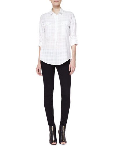 Burberry Brit Shadow Check Cotton Shirt & 4-Way Stretch Travel Jeans