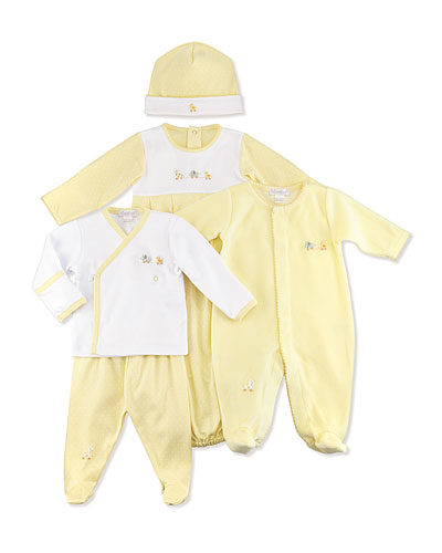 Kissy Kissy Baby Pull Toys Gown, Footed Pant Set, Velour Footie & Hat