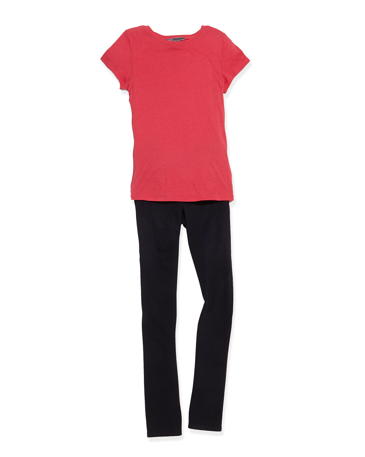 Girls' Favorite Tee & Wrap-Seam Ponte Leggings