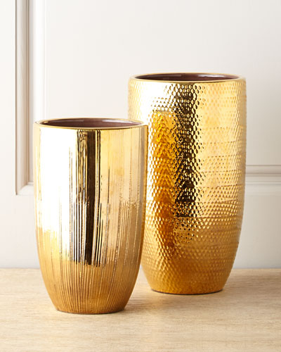 Textured Gold Vases
