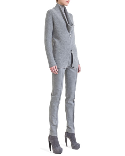 Akris New Shawl-Collar Cardigan, Long-Sleeve Jersey Pullover & Melissa Slim Flannel Ankle Pants